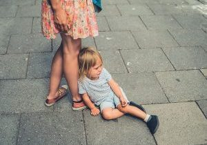 Unhappy child with spouse after family divorce