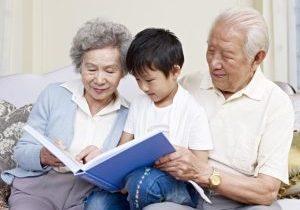Grandparents reading to children