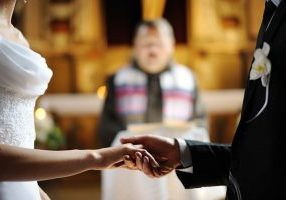 Marriage ceremony of someone getting remarried